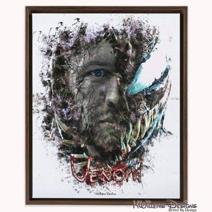 Tom Hardy as Venom Ink Smudge Art Print - Framed Canvas Art Print / 16x20 inch