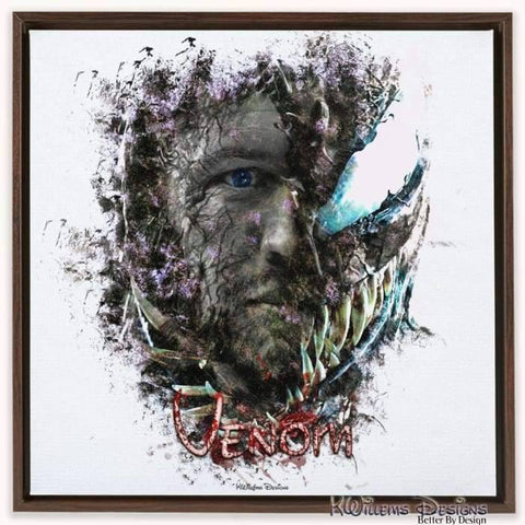 Image of Tom Hardy as Venom Ink Smudge Art Print - Framed Canvas Art Print / 24x24 inch