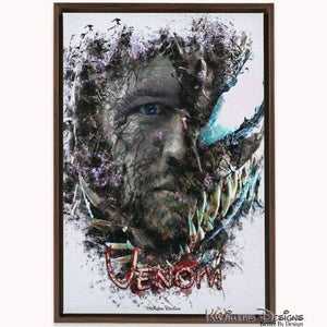 Tom Hardy as Venom Ink Smudge Art Print - Framed Canvas Art Print / 24x36 inch