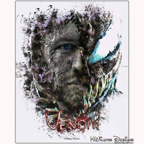Image of Tom Hardy as Venom Ink Smudge Art Print - Metal Art Print / 16x20 inch