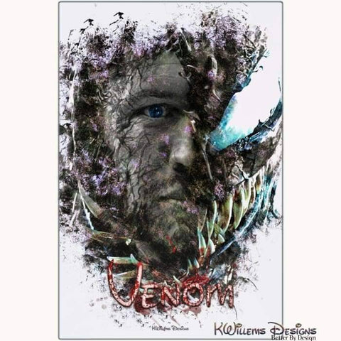 Image of Tom Hardy as Venom Ink Smudge Art Print - Metal Art Print / 24x36 inch
