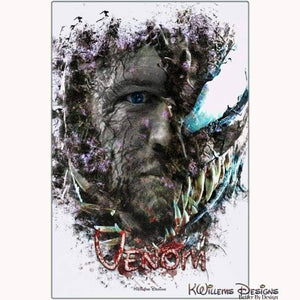Tom Hardy as Venom Ink Smudge Art Print - Metal Art Print / 24x36 inch