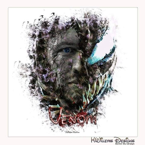 Image of Tom Hardy as Venom Ink Smudge Art Print - Wrapped Canvas Art Print / 24x24 inch