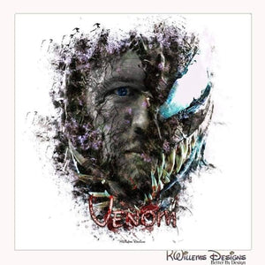 Tom Hardy as Venom Ink Smudge Art Print - Wrapped Canvas Art Print / 24x24 inch