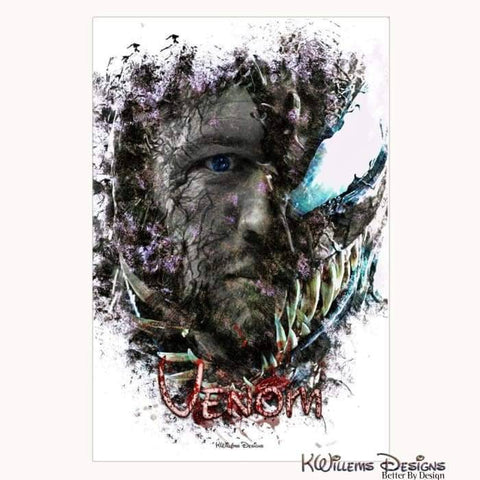 Image of Tom Hardy as Venom Ink Smudge Art Print - Wrapped Canvas Art Print / 24x36 inch