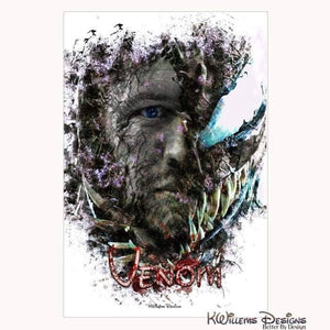 Tom Hardy as Venom Ink Smudge Art Print - Wrapped Canvas Art Print / 24x36 inch