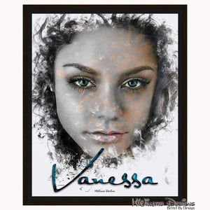 Vanessa Hudgens Ink Smudge Style Art Print - Framed Canvas Art Print / 16x20 inch