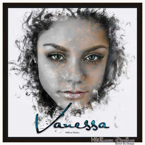 Image of Vanessa Hudgens Ink Smudge Style Art Print - Framed Canvas Art Print / 24x24 inch