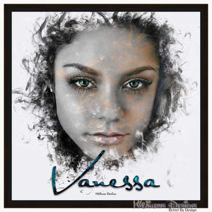 Vanessa Hudgens Ink Smudge Style Art Print - Framed Canvas Art Print / 24x24 inch