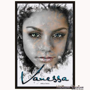 Vanessa Hudgens Ink Smudge Style Art Print - Framed Canvas Art Print / 24x36 inch