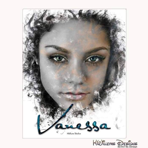 Image of Vanessa Hudgens Ink Smudge Style Art Print - Wrapped Canvas Art Print / 16x20 inch
