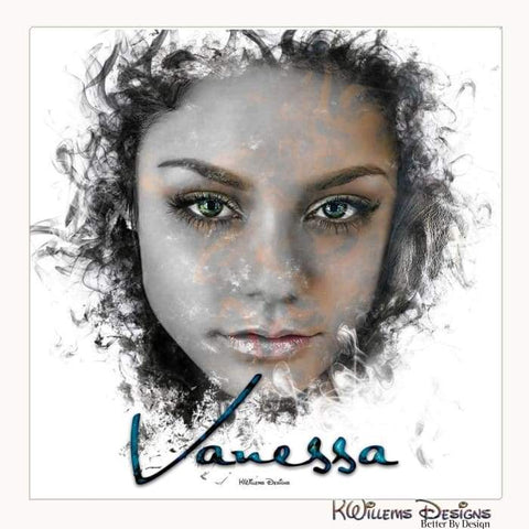 Image of Vanessa Hudgens Ink Smudge Style Art Print - Wrapped Canvas Art Print / 24x24 inch