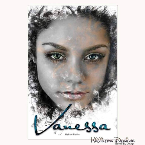 Image of Vanessa Hudgens Ink Smudge Style Art Print - Wrapped Canvas Art Print / 24x36 inch