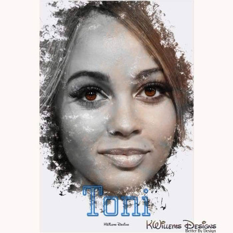 Image of Vanessa Morgan as Toni Ink Smudge Style Art Print - Acrylic Art Print / 24x36 inch