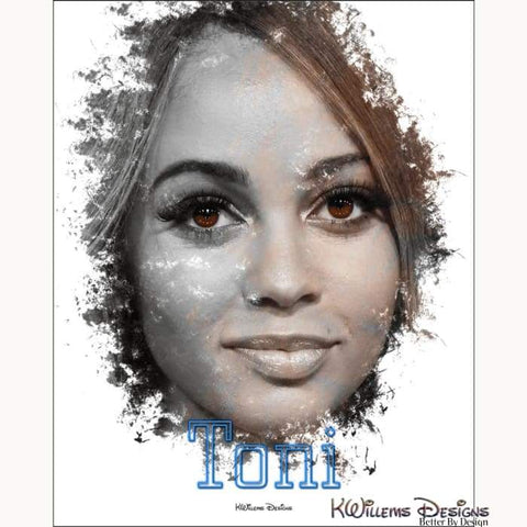 Image of Vanessa Morgan as Toni Ink Smudge Style Art Print