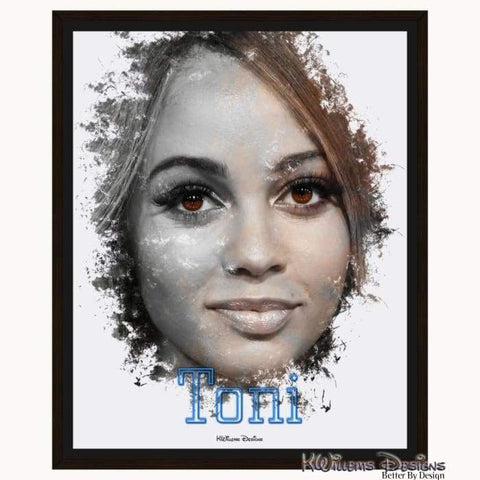 Image of Vanessa Morgan as Toni Ink Smudge Style Art Print - Framed Canvas Art Print / 16x20 inch
