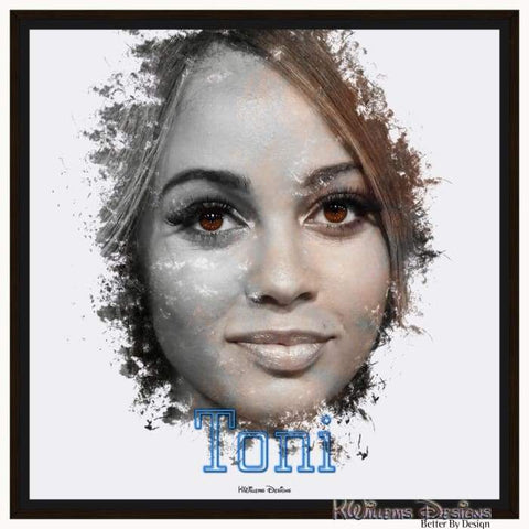 Image of Vanessa Morgan as Toni Ink Smudge Style Art Print - Framed Canvas Art Print / 24x24 inch