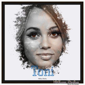 Vanessa Morgan as Toni Ink Smudge Style Art Print - Framed Canvas Art Print / 24x24 inch