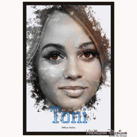 Image of Vanessa Morgan as Toni Ink Smudge Style Art Print - Framed Canvas Art Print / 24x36 inch