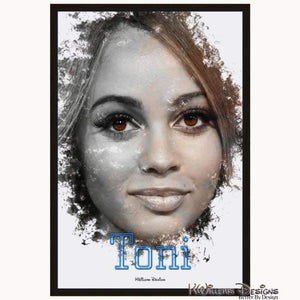 Vanessa Morgan as Toni Ink Smudge Style Art Print - Framed Canvas Art Print / 24x36 inch