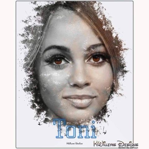 Image of Vanessa Morgan as Toni Ink Smudge Style Art Print - Metal Art Print / 16x20 inch