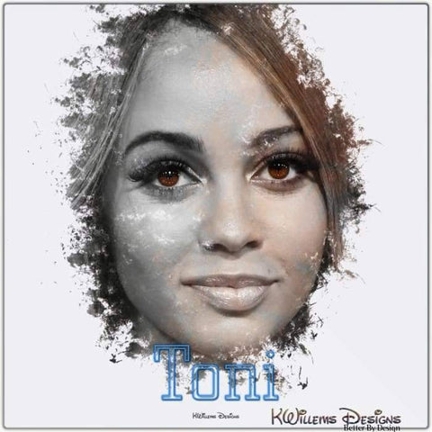 Image of Vanessa Morgan as Toni Ink Smudge Style Art Print - Metal Art Print / 24x24 inch