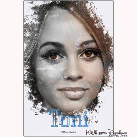 Image of Vanessa Morgan as Toni Ink Smudge Style Art Print - Metal Art Print / 24x36 inch