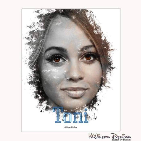 Image of Vanessa Morgan as Toni Ink Smudge Style Art Print - Wrapped Canvas Art Print / 16x20 inch