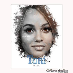 Vanessa Morgan as Toni Ink Smudge Style Art Print - Wrapped Canvas Art Print / 16x20 inch