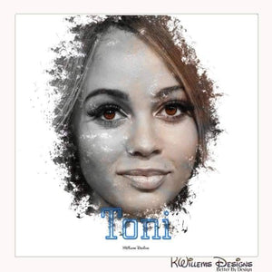 Vanessa Morgan as Toni Ink Smudge Style Art Print - Wrapped Canvas Art Print / 24x24 inch