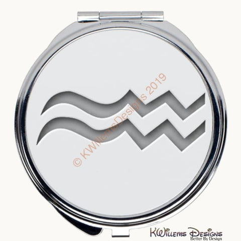 Image of Zodiac Themed Compact Mirrors - Aquarius / Round
