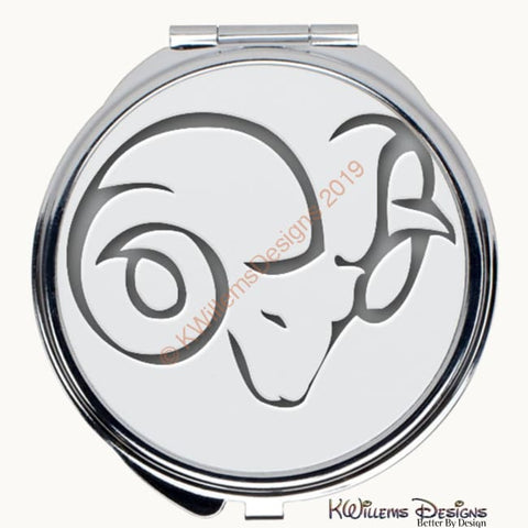 Zodiac Themed Compact Mirrors - Aries / Round