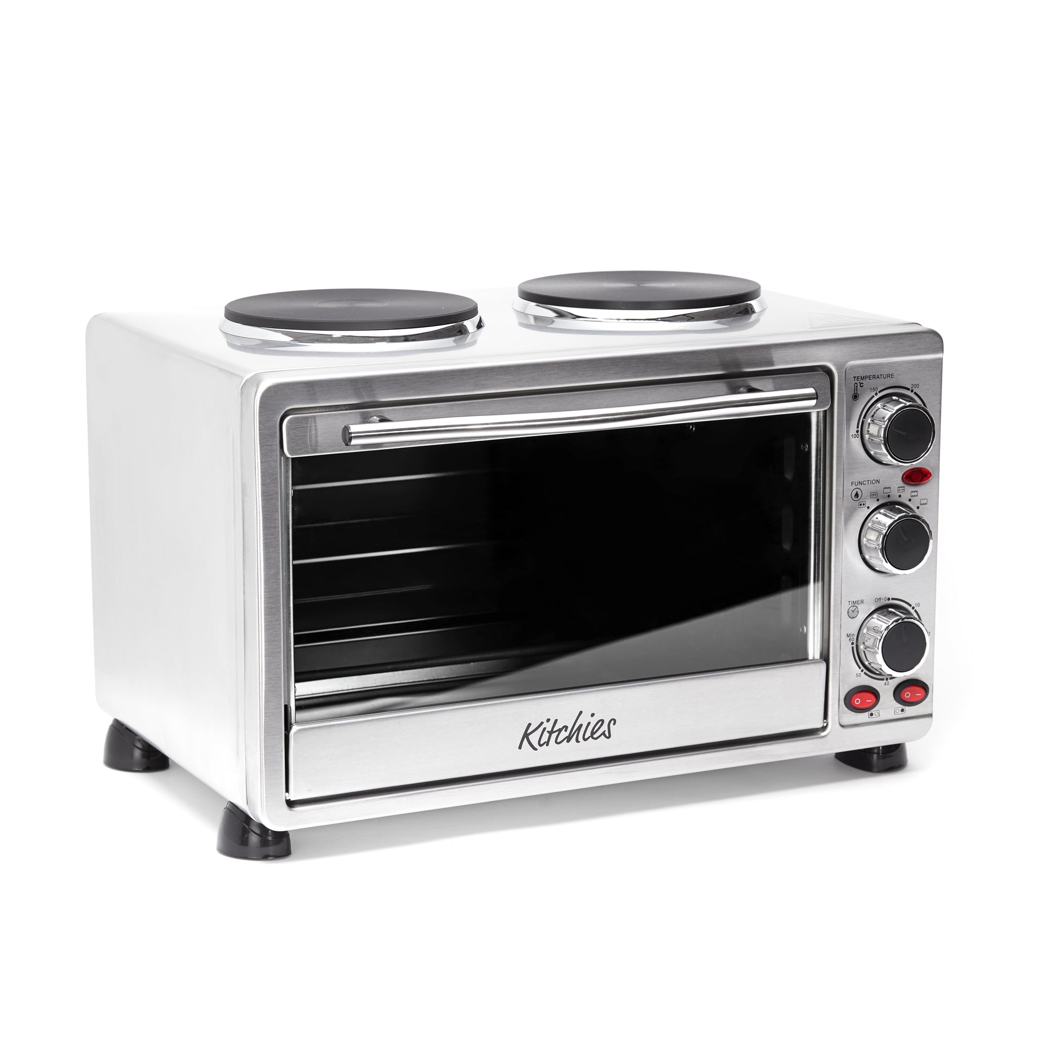 23L Countertop Mini Convection Oven with Hotplates in Stainless Steel