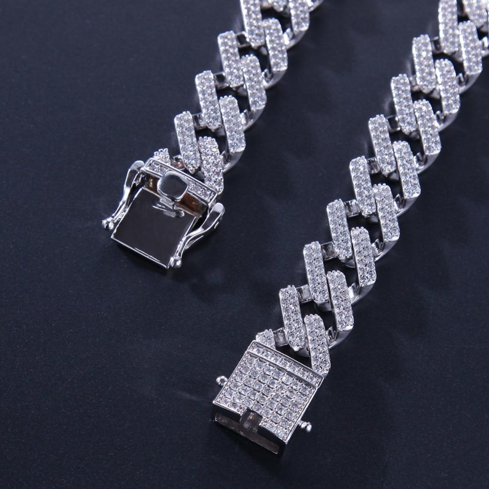 Premium 14mm White Gold Iced Prong Cuban Link Chain