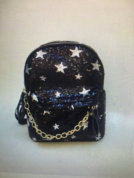 Black Glitter Star Backpack