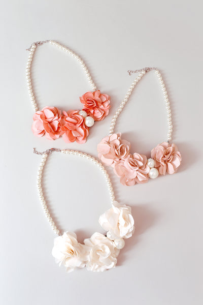 Flower Pearl Necklace - My Berry Bow