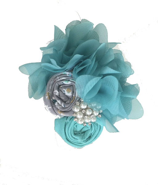Turquoise & Gray Rhinestone Headband - My Berry Bow