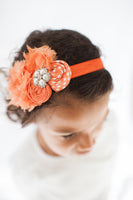 Orange Rhinestone and Pearl Elastic Headband - My Berry Bow