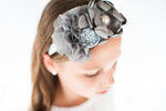 Gray and White Pearl Elastic Headband - My Berry Bow