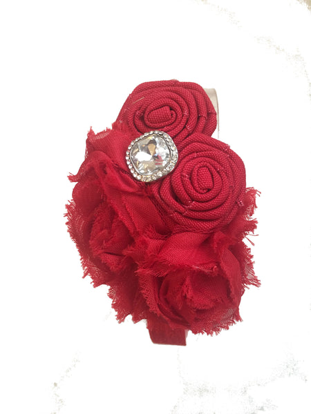 Red Rhinestone Elastice Headband - My Berry Bow