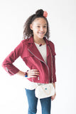Burgundy Moto Jacket - My Berry Bow