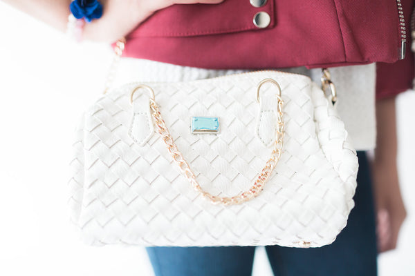 White Knitted Mini Handbag - My Berry Bow