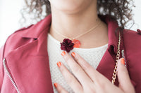 Maroon Flower Necklace with Gem - My Berry Bow