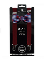 Maroon Bowtie and Suspender Set - My Berry Bow