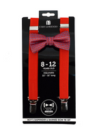 Red Boys Bowtie and Suspender Set - My Berry Bow