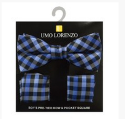 Blue and Black Bow tie and Hanky Set - My Berry Bow