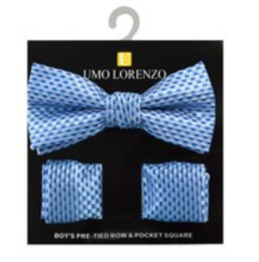 Light Blue Bow tie and Hanky Set - My Berry Bow