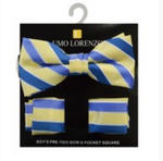 Yellow and Blue Bow tie and Hanky Set - My Berry Bow