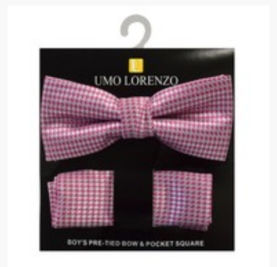 Pink and Red Bow tie and Hanky Set - My Berry Bow