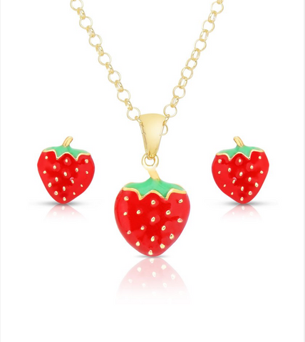 Strawberry Pendant and Stud Earring Set - My Berry Bow